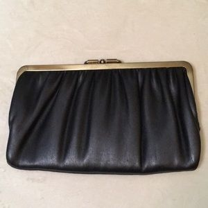 Handbags - Black clutch with gold trim and closure